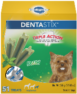 box of Dentastix Fresh dog treats for small and toy dogs