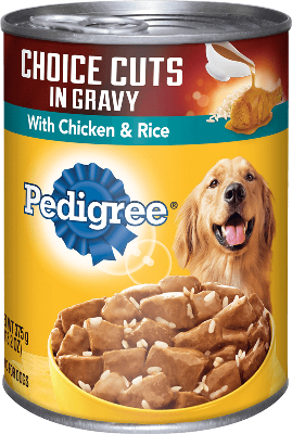 Chicken and rice gravy canned dog food pedigree pedigree wet dog food choice cuts in gravy with chicken rice forumfinder Image collections