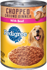 can of Pedigree chopped ground beef dinner wet food