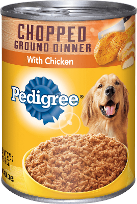 can of Pedigree chopped ground chicken dinner wet food