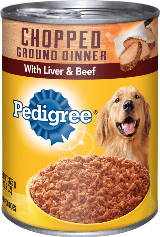can of Pedigree chopped ground liver beef dinner wet food