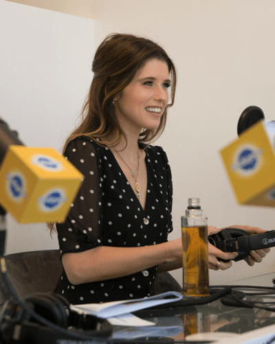 Katherine Schwarzenegger in podcasting studio