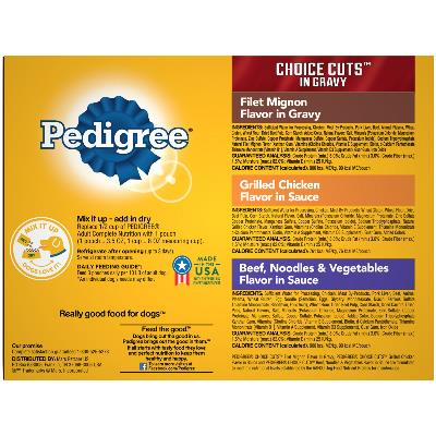 PEDIGREE CHOICE CUTS in Gravy Adult Soft Wet Meaty Dog Food Variety Pack BACK