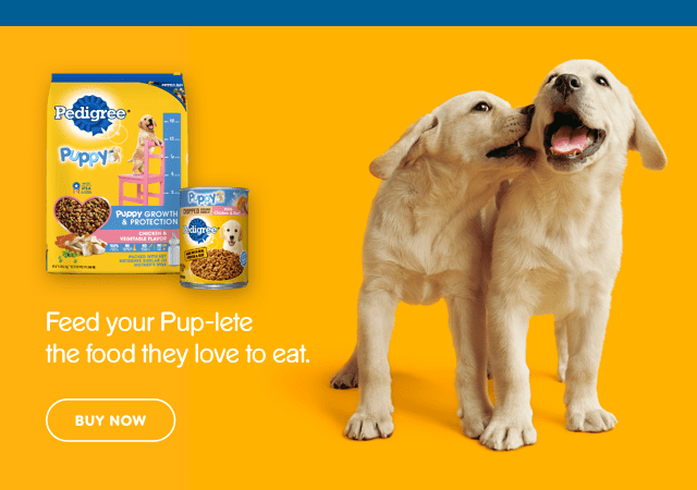 golden retriever puppies and PEDIGREE® products