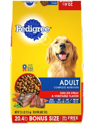 front label of pedigree adult grilled steak & vegetable flavor bonus size dog food