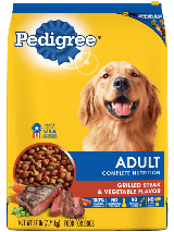 package of Pedigree complete grilled steak vegetable dry food for adult dogs