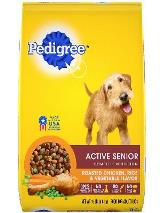 front label of pedigree active senior complete nutrition roasted chicken, rice & vegetable flavor dog food