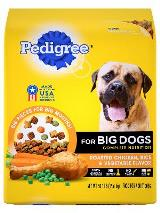 Front label of pedigree roasted chicken, rice & vegetable flavor for big dogs complete nutrition dog food