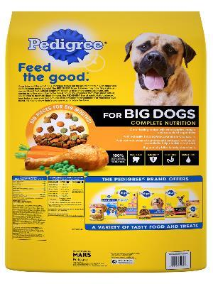 Back of pedigree roasted chicken, rice & vegetable flavor for big dogs complete nutrition dog food