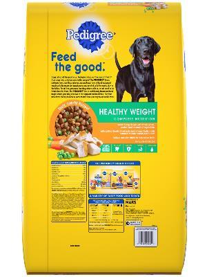 back label of pedigree healthy weight roasted chicken & vegetable flavor complete nutrition dog food