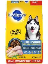front label of pedigree high protein farm raised poultry with chicken & turkey flavor bonus size dog food
