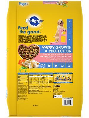 back of yellow bag of pedigree puppy growth & protection chicken & vegetable flavored dog food