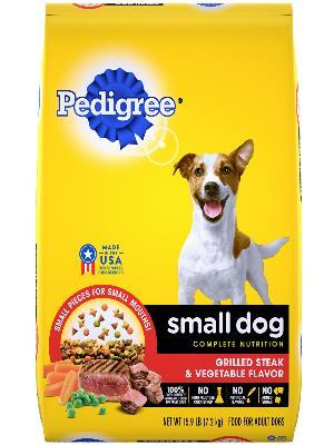 front of yellow bag of pedigree grilled steak and vegetable flavor complete nutrition small dog food