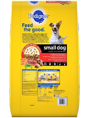 back of yellow bag of pedigree grilled steak and vegetable flavore complete nutrition small dog food