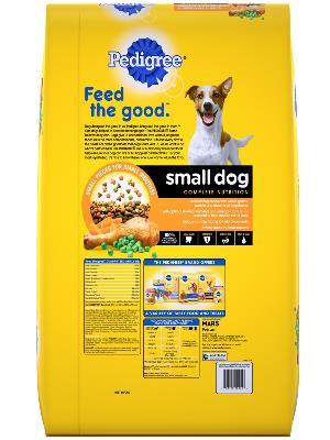 back label of pedigree small dog complete nutrition roasted chicken & vegetable flavor dog food