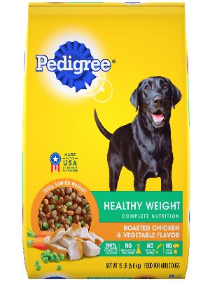 package of Pedigree healthy weight chicken vegetable dry food