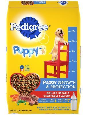 front label of pedigree puppy growth & protection grilled steak & vegetable flavor dog food