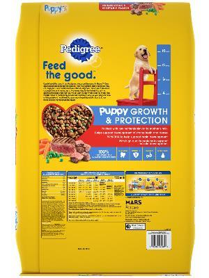 back label of pedigree puppy growth & protection grilled steak & vegetable flavor dog food