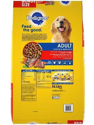 back label label of pedigree adult grilled steak & vegetable flavor bonus size dog food