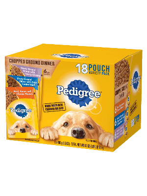 Pedigree Wet Dog Food Chopped Ground Dinner 18ct Beef Bacon And