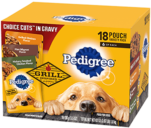 PEDIGREE® CHOICE CUTS™ In Gravy 18 Pouch Grill Inspired