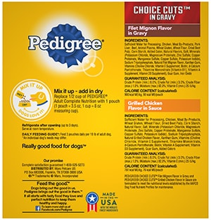 PEDIGREE® CHOICE CUTS™ in Gravy Grilled Chicken Flavor in Sauce & Filet Mignon Flavor Wet Meaty Dog Food Variety Pack BACK