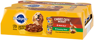 PEDIGREE® CHOICE CUTS™ in Gravy With Beef and Country Stew Adult Canned Wet Dog Food Variety Pack FRONT