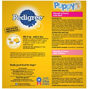 PEDIGREE® CHOICE CUTS™ Puppy Morsels in Sauce With Chicken and With Beef Wet Meaty Dog Food Variety Pack BACK