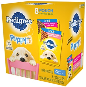 PEDIGREE® CHOICE CUTS™ Puppy Morsels in Sauce With Chicken and With Beef Wet Meaty Dog Food Variety Pack FRONT