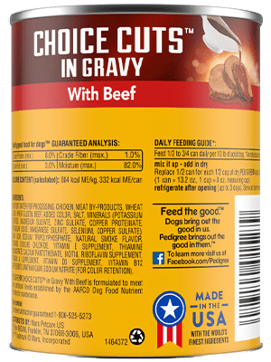 Pedigree® 13 oz choice cuts in gravy with beef back of can