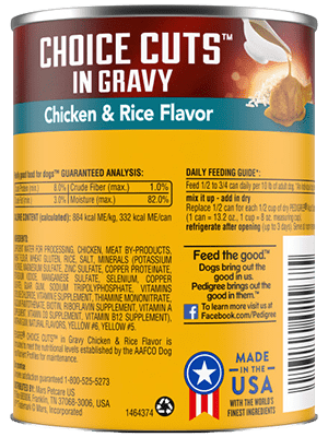 Pedigree® 13 oz choice cuts in gravy chicken and rice flavor back of can