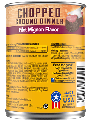 Pedigree® 13 oz chopped ground dinner filet mignon flavor back of can