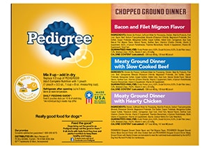 PEDIGREE®  Chopped Ground Dinner wet Meaty Dog Food Variety Pack BACK