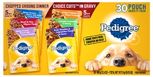 PEDIGREE® Chopped Ground Dinner & PEDIGREE® CHOICE CUTS™ in Gravy Adult Wet Dog Food Variety FRONT
