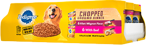 PEDIGREE®  Chopped Ground Dinner Filet Mignon Flavor & With Beef Adult Wet Dog Food Variety FRONT