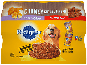 PEDIGREE® Meaty Ground Dinner With Chunky Chicken  and With Chunky Beef Wet Dog Food Variety Pack BACK