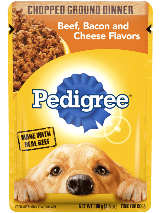 PEDIGREE® Chopped Ground Dinner Beef, Bacon And Cheese Flavor Pouch