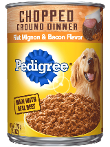 Chopped Ground Dinner Filet Mignon And Bacon Flavor Canned Dog Food