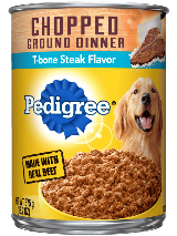 PEDIGREE® Chopped Ground Dinner T-Bone Steak Flavor Canned Dog Food