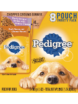 Pedigree Chopped Ground Dinner 8 Pouch Variety Hearty Chicken Beef Bacon Cheese