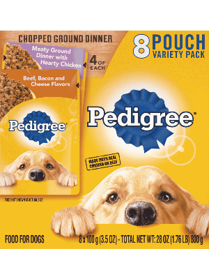 PEDIGREE® Chopped Ground Dinner 8 Pouch Variety Pack Multi-Flavor