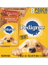 Pedigree Chopped Ground Dinner 8 Pouch Variety  Beef Filet Bacon